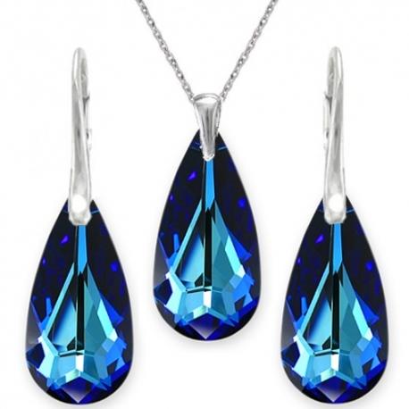 Elegantný set  Swarovski elements slzy modrý BERMUDE BLUE 24mm