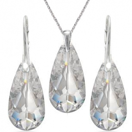 Elegantný set Swarovski elements slzy číry Crystal 24mm