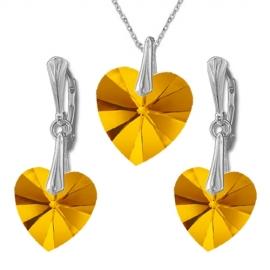 Nádherný set Swarovski elements srdce oranžovoružový ASTRALPINK 14mm