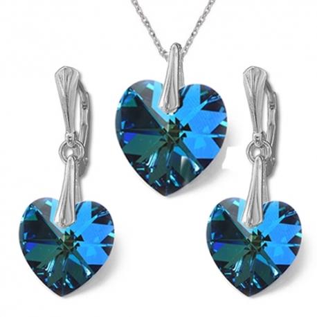 Nádherný set Swarovski elements srdce modrý BERMUDE BLUE 14mm