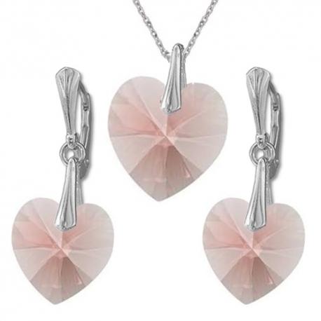 Nádherný set Swarovski elements srdce ružový BLUSH ROSE 14mm