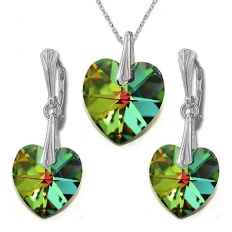 Nádherný set Swarovski elements srdce zelený CRYSTAL Vitrail Medium 14mm
