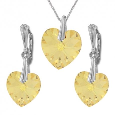 Nádherný set Swarovski elements srdce zlatý GOLDEN SHADOW 14mm