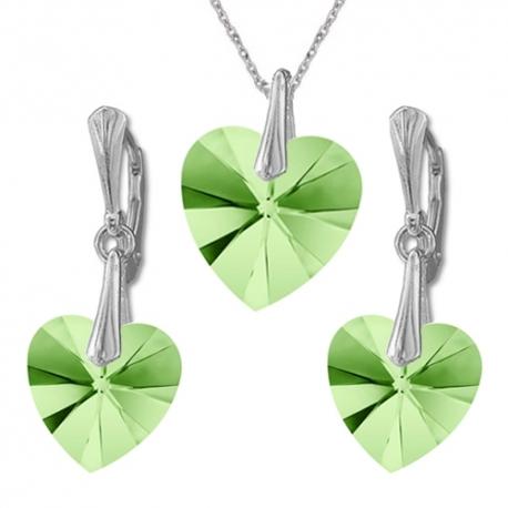 Nádherný set Swarovski elements srdce zelený PERIDOT AB 14mm
