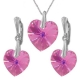 Nádherný set Swarovski elements srdce ružový  ROSE AB 14mm