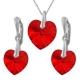 Nádherný set Swarovski elements srdce červený SIAM 14mm