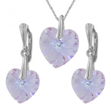 Nádherný set Swarovski elements srdce fialový VIOLET AB 14mm