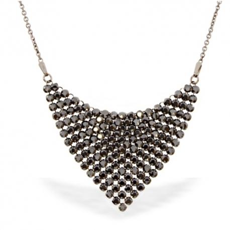 Strieborný náhrdelník Swarovski elements čierny Chic