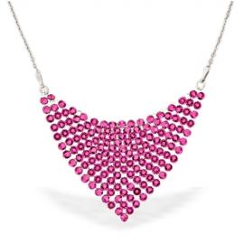 Strieborný náhrdelník Swarovski elements Chic ružový