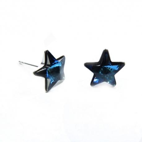 Náušnice napichovačky Swarovski elements hviezdy 10 mm modré Bermuda Blue