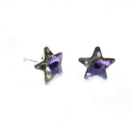 Náušnice Swarovski elements  napichovacie hviezdy 10 mm fialové Crystal Vitrail Light
