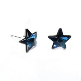 Náušnice napichovacie Swarovski elements   hviezdy 5 mm modré Bermuda Blue