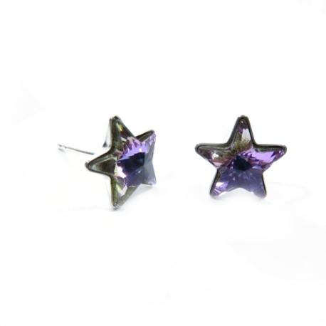 Náušnice Swarovski elements  napichovacie hviezdy 5mm fialové Crystal Vitrail Light