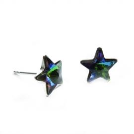 Náušnice Swarovski elements napichovacie hviezdy 5 mm zelené Crystal Vitrail Medium