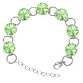 Náramok Swarovski elements 12mm rivoli zelený CHRYSOLITE