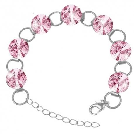 Náramok Swarovski elements 12mm rivoli  ružový– LIGHT ROSE
