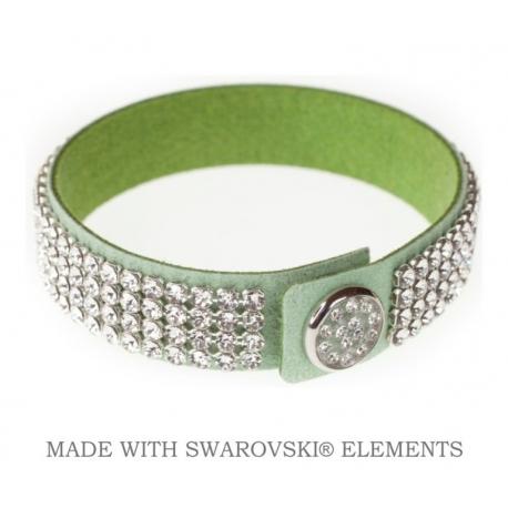 Náramok Levien kožený swarovski zelený s čírymi kryštáľmi