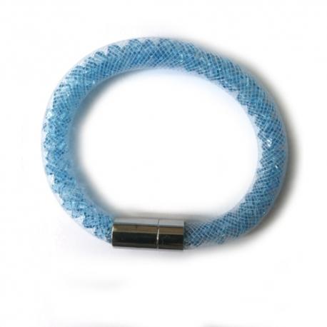 Náramok Swarovski elements  mesh modré kryštáliky AQUAMARINE malý