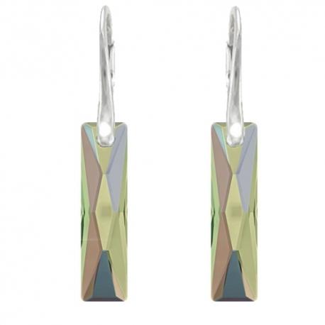 Elegantné náušnice Swarovski elements Queen Baguette zelenofialové CRYSTAL PARADISE SHINE 25mm