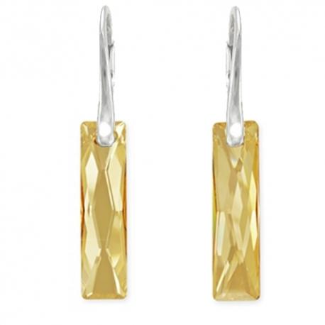 Náušnice elegantné - swarovski elements Queen Baguette zlaté Golden Shadow 25mm