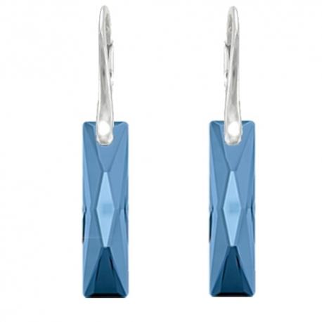 Elegantné náušnice Swarovski elements Queen Baguette modré MONTANA 25mm
