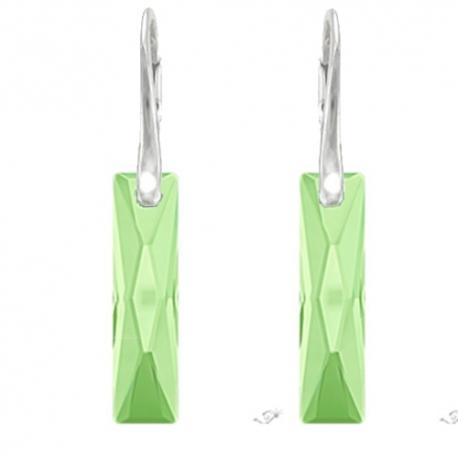 Elegantné náušnice Swarovski elements Queen Baguette zelené PERIDOT 25mm
