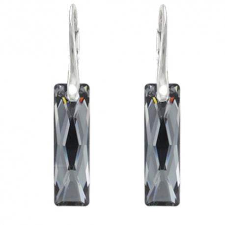 Náušnice elegantné swarovski elements Queen Baguette čierne Silvernight 25mm