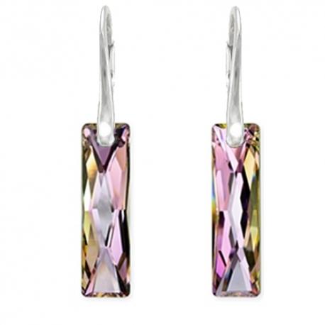 Elegantné náušnice Swarovski elements Queen Baguette fialové Vitrail Light 25mm