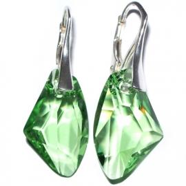 Náušnice  Swarovski elements Galactic zelené Peridot 19mm