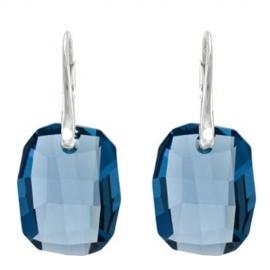 Náušnice  Swarovski elements  Graphic modré DENIM BLUE 19mm