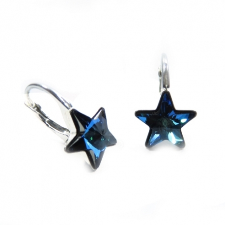 Náušnice Swarovski elements krásne hviezdy 10 mm modré Bermuda Blue