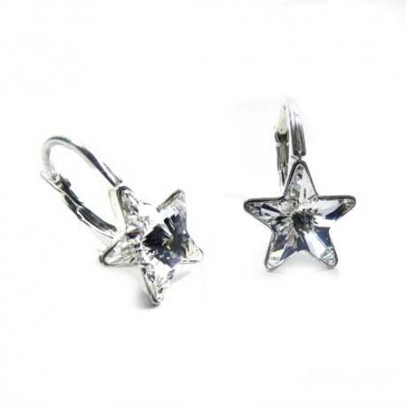 Náušnice krásne hviezdy 10 mm – farba Crystal