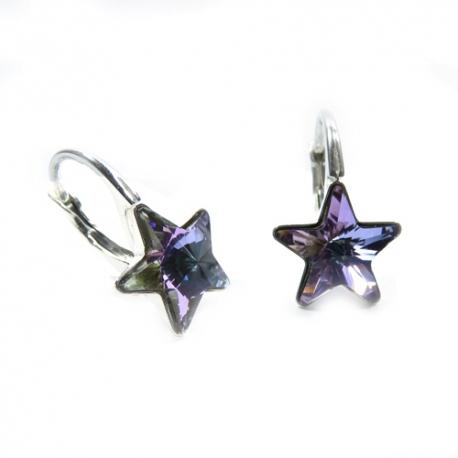Náušnice Swarovski elements  krásne hviezdy 10 mm fialové Crystal Vitrail Light