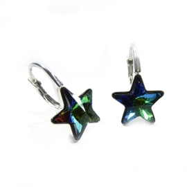 Náušnice Swarovski elements  krásne hviezdy 10 mm zelené Crystal Vitrail Medium