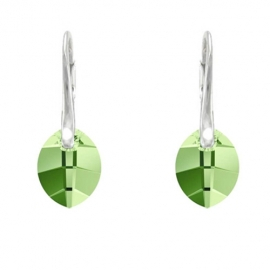 Náušnice  Swarovski elements  List 14 mm zelené PERIDOT