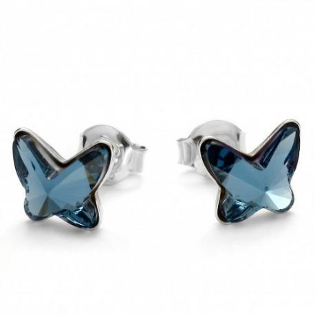 Náušnice Swarovski elements motýliky 10 mm modré DENIM BLUE – napichovačky