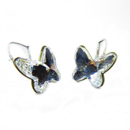 Náušnice motýliky 12 mm – farba Crystal