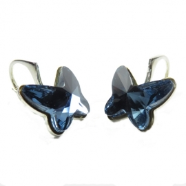 Náušnice Swarovski elements motýliky 12 mm modré DENIM BLUE