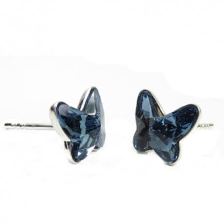 Náušnice Swarovski elements  motýliky 12 mm modré DENIM BLUE – napichovačky