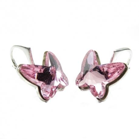 Náušnice Swarovski elements motýliky 12 mm ružové LIGHT ROSE