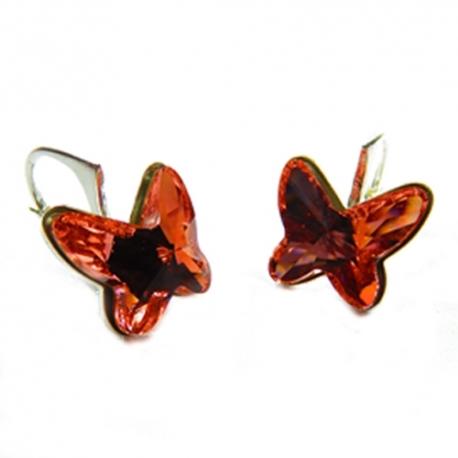 Náušnice Swarovski elements  motýliky 12 mm broskyňové ROSE PEACH