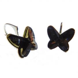 Náušnice Swarovski elements motýliky 12 mm čierne SILVERNIGHT