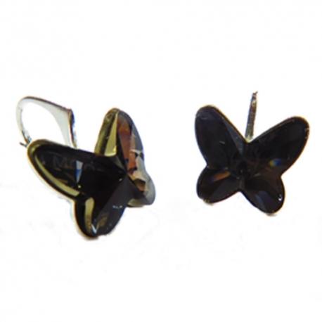 Náušnice motýliky 12 mm – farba SILVERNIGHT
