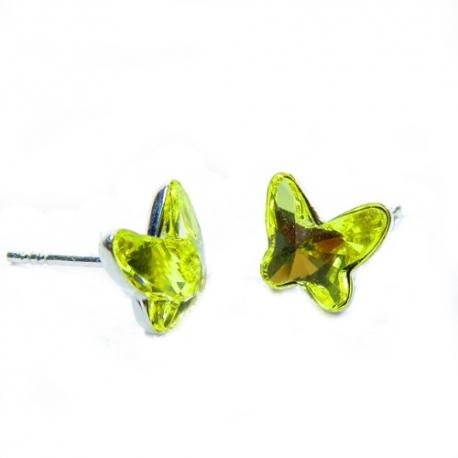 Náušnice Swarovski elements motýliky 12 mm ŽLTE – napichovačky