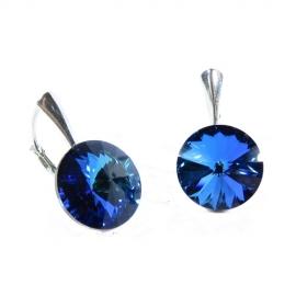 Náušnice Swarovski elements Rivoli 12 mm modré BERMUDE BLUE