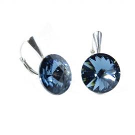 Náušnice  Swarovski elements Rivoli 12 mm modré DENIM BLUE