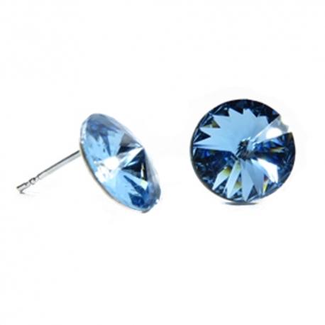 Náušnice Swarovski elements rivoli 12 mm modré AQUAMARINE – napichovačky