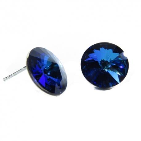Náušnice Swarovski elements rivoli 12 mm modré BERMUDA BLUE – napichovačky
