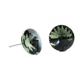 Náušnice Swarovski elements rivoli 12 mm  čierne BLACK DIAMOND – napichovačky