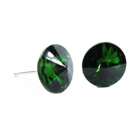 Náušnice Swarovski elements  rivoli 12 mm zelené DARK MOSS GREEN – napichovačky